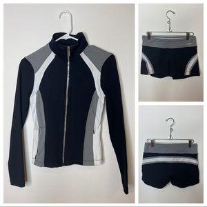 Workout jacket and matching spandex shorts